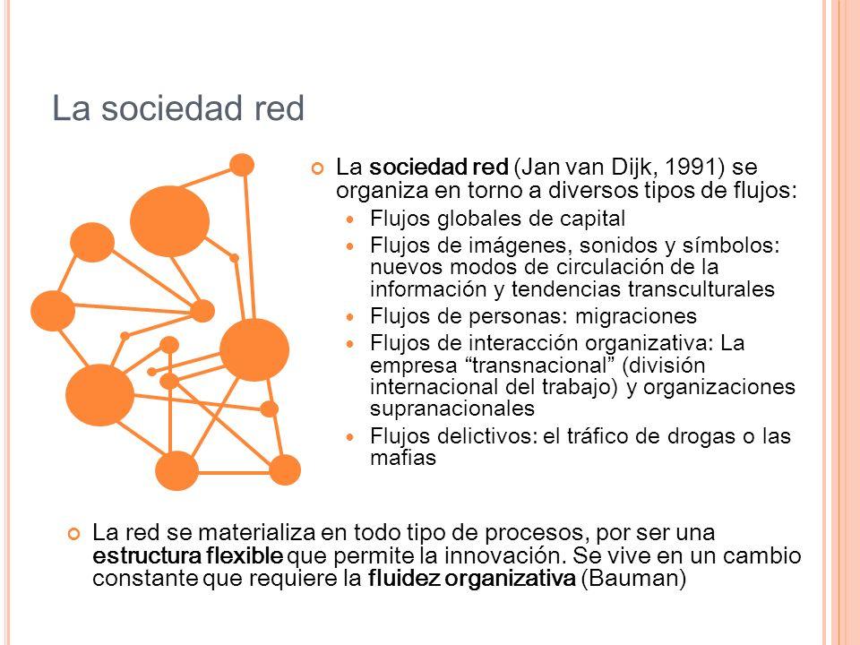 La sociedad red La sociedad red (Jan van Dijk, 1991) se organiza en torno a diversos tipos de flujos: Flujos globales de capital Flujos de imágenes, s