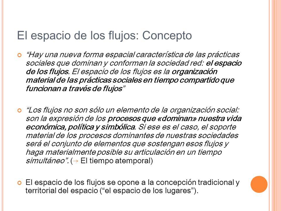 El espacio de los flujos: Concepto Hay una nueva forma espacial característica de las prácticas sociales que dominan y conforman la sociedad red: el e