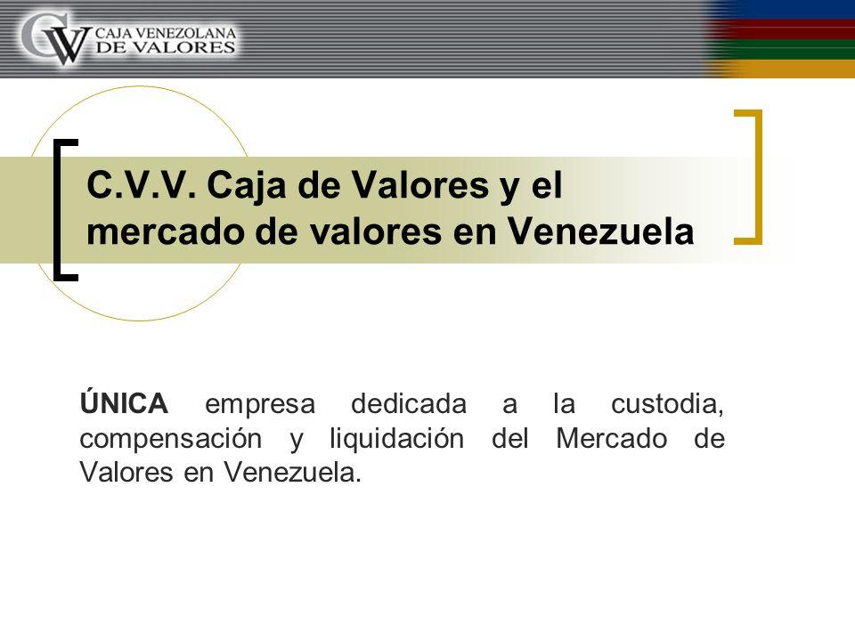 C.V.V. Caja de Valores y el mercado de valores en Venezuela ÚNICA empresa dedicada a la custodia, compensación y liquidación del Mercado de Valores en