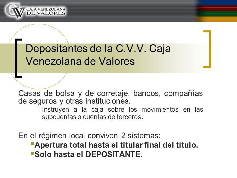 Depositantes de la C.V.V. Caja Venezolana de Valores Casas de bolsa y de corretaje, bancos, compañías de seguros y otras instituciones. Instruyen a la
