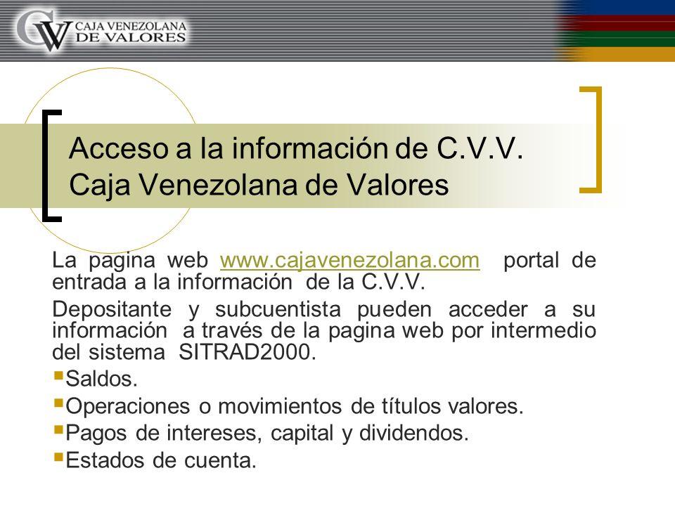 Acceso a la información de C.V.V. Caja Venezolana de Valores La pagina web www.cajavenezolana.com portal de entrada a la información de la C.V.V.www.c