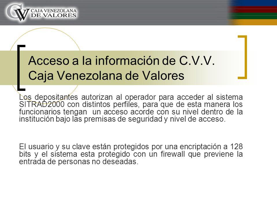 Acceso a la información de C.V.V. Caja Venezolana de Valores Los depositantes autorizan al operador para acceder al sistema SITRAD2000 con distintos p