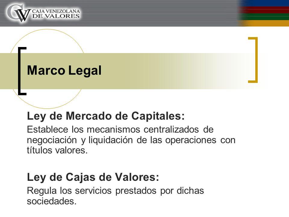 Marco Legal Ley de Mercado de Capitales: Establece los mecanismos centralizados de negociación y liquidación de las operaciones con títulos valores. L