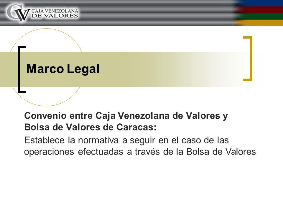 Marco Legal Convenio entre Caja Venezolana de Valores y Bolsa de Valores de Caracas: Establece la normativa a seguir en el caso de las operaciones efe