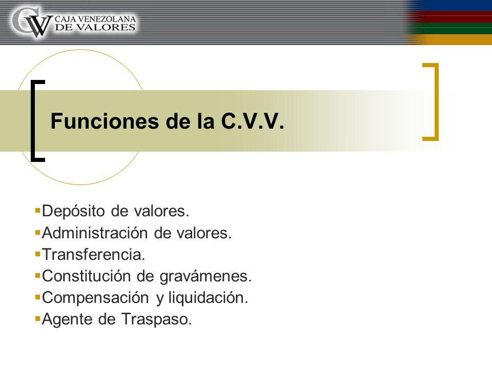Funciones de la C.V.V. Depósito de valores. Administración de valores. Transferencia. Constitución de gravámenes. Compensación y liquidación. Agente d