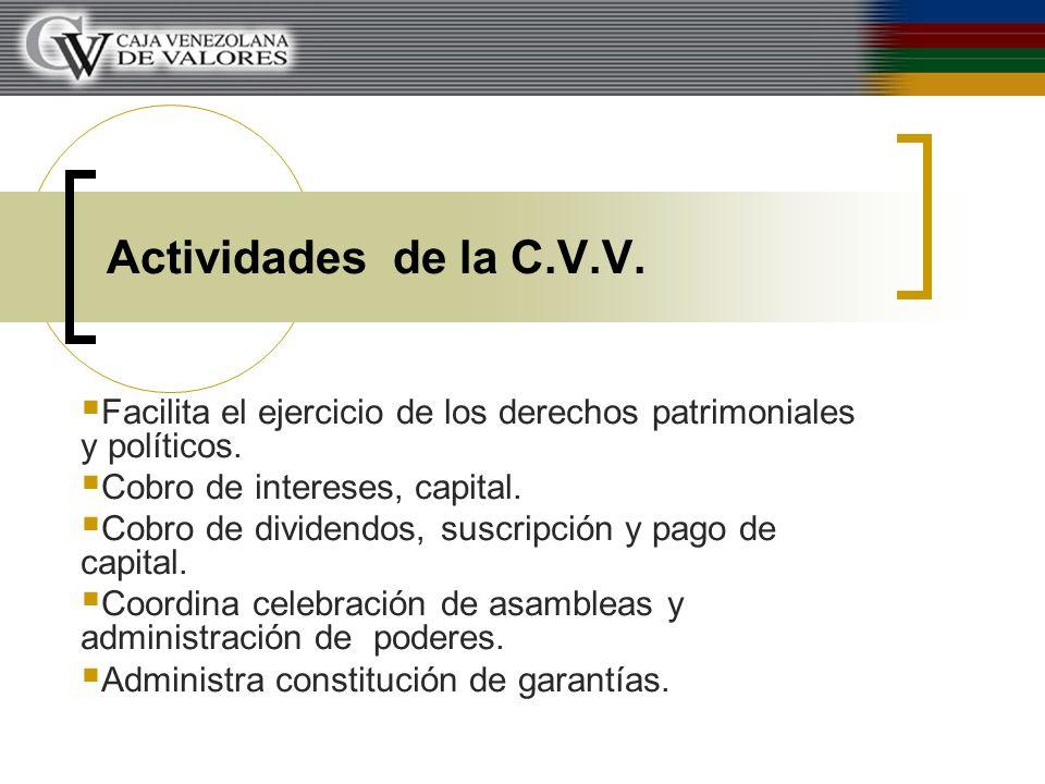 Actividades de la C.V.V. Facilita el ejercicio de los derechos patrimoniales y políticos. Cobro de intereses, capital. Cobro de dividendos, suscripció
