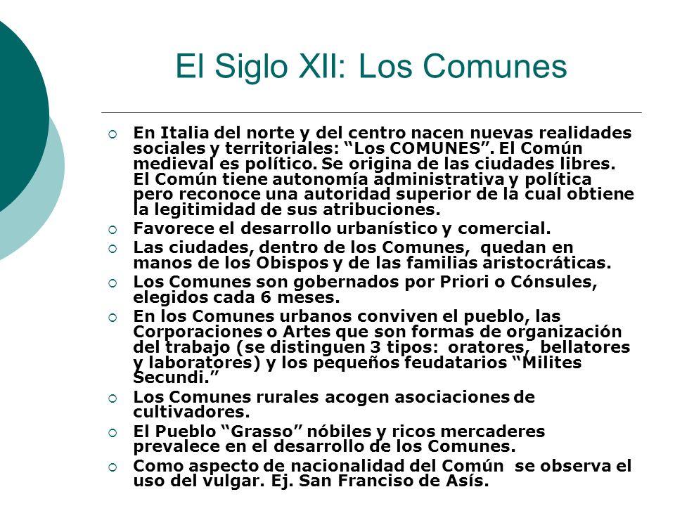 El Siglo XII: Los Comunes En Italia del norte y del centro nacen nuevas realidades sociales y territoriales: Los COMUNES. El Común medieval es polític