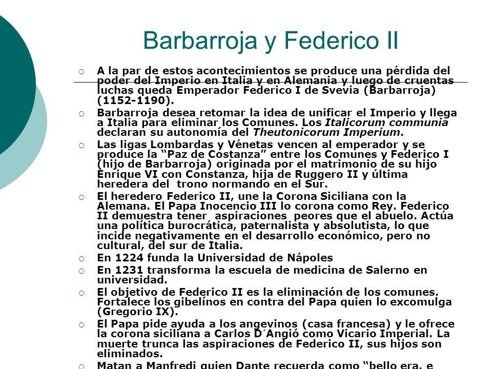 Barbarroja y Federico II A la par de estos acontecimientos se produce una pérdida del poder del Imperio en Italia y en Alemania y luego de cruentas lu