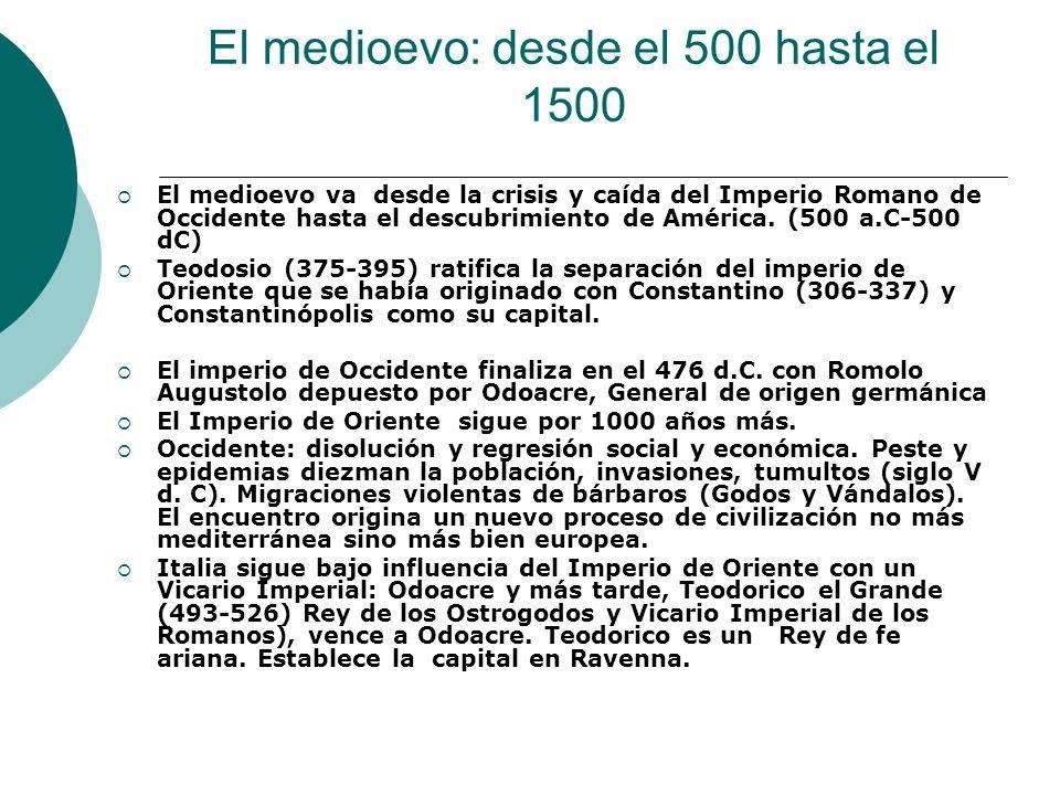 El medioevo: desde el 500 hasta el 1500 El medioevo va desde la crisis y caída del Imperio Romano de Occidente hasta el descubrimiento de América. (50