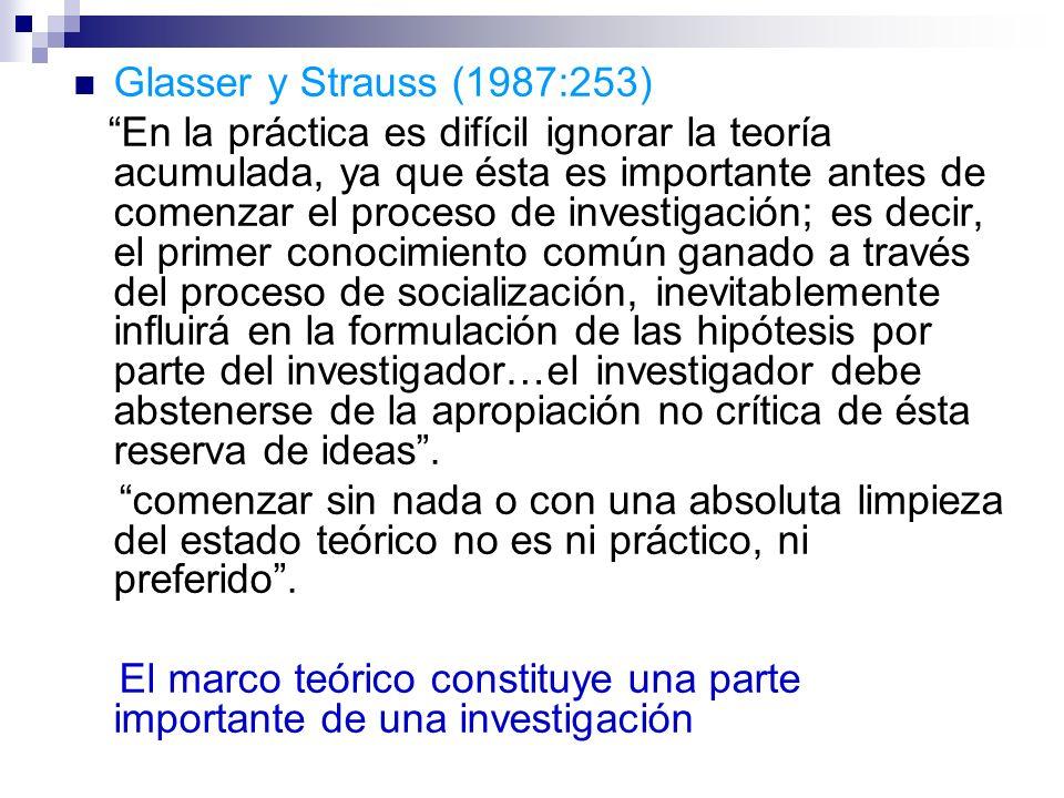 Glasser y Strauss (1987:253) En la práctica es difícil ignorar la teoría acumulada, ya que ésta es importante antes de comenzar el proceso de investig