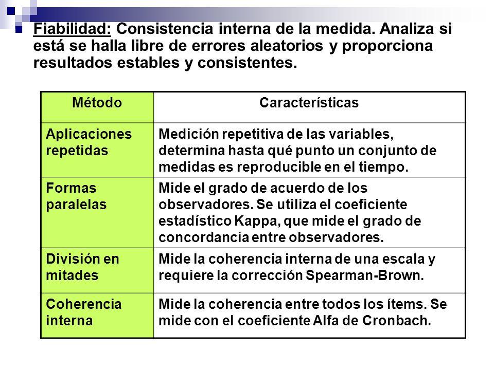 Fiabilidad: Consistencia interna de la medida. Analiza si está se halla libre de errores aleatorios y proporciona resultados estables y consistentes.