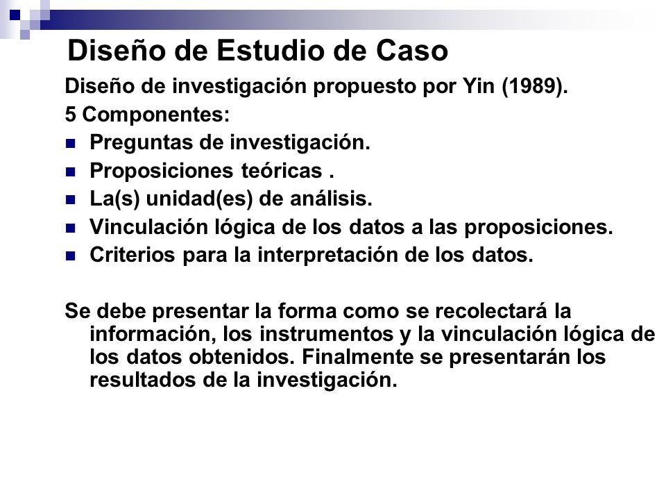 Diseño de Estudio de Caso Diseño de investigación propuesto por Yin (1989). 5 Componentes: Preguntas de investigación. Proposiciones teóricas. La(s) u