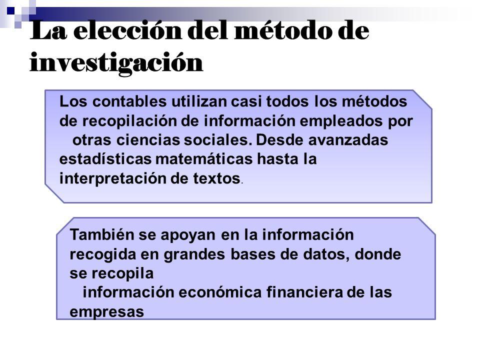 La elección del método de investigación Los contables utilizan casi todos los métodos de recopilación de información empleados por otras ciencias soci