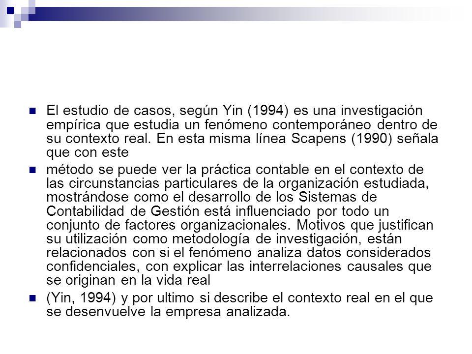 El estudio de casos, según Yin (1994) es una investigación empírica que estudia un fenómeno contemporáneo dentro de su contexto real. En esta misma lí