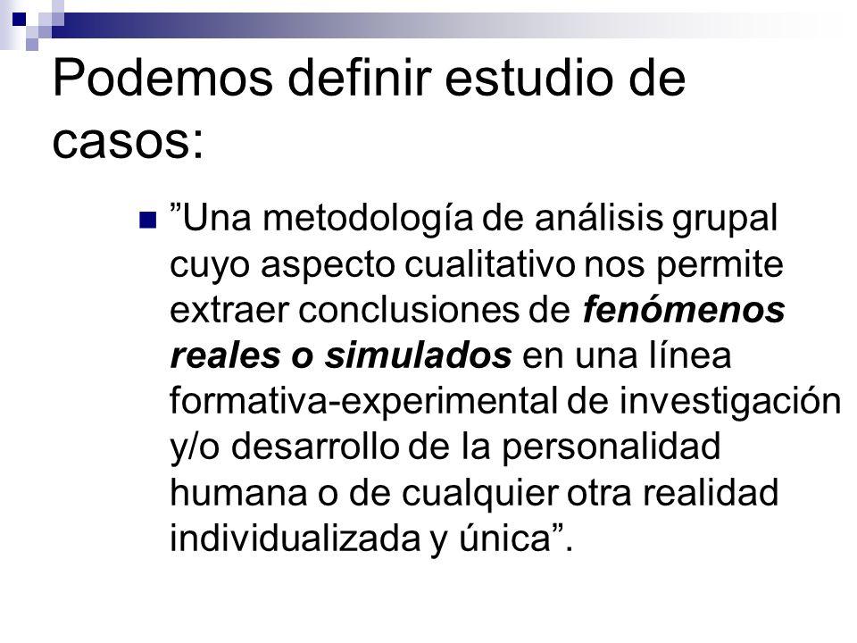 Podemos definir estudio de casos: Una metodología de análisis grupal cuyo aspecto cualitativo nos permite extraer conclusiones de fenómenos reales o s