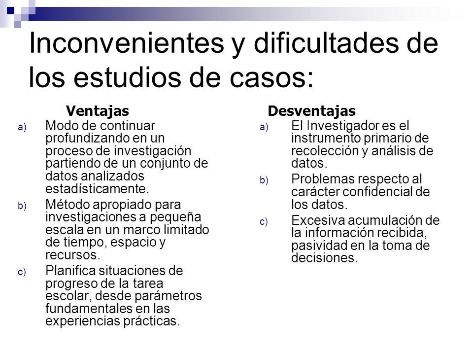 Inconvenientes y dificultades de los estudios de casos: a) El Investigador es el instrumento primario de recolección y análisis de datos. b) Problemas
