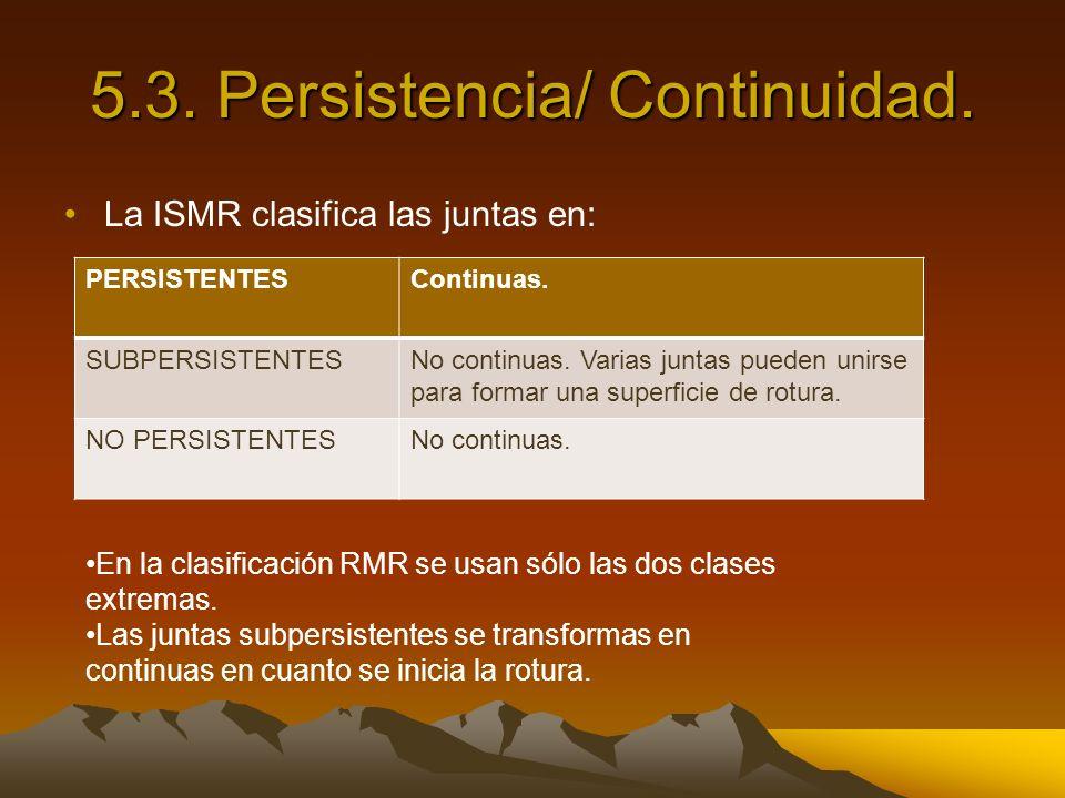 5.3. Persistencia/ Continuidad. La ISMR clasifica las juntas en: PERSISTENTESContinuas. SUBPERSISTENTESNo continuas. Varias juntas pueden unirse para