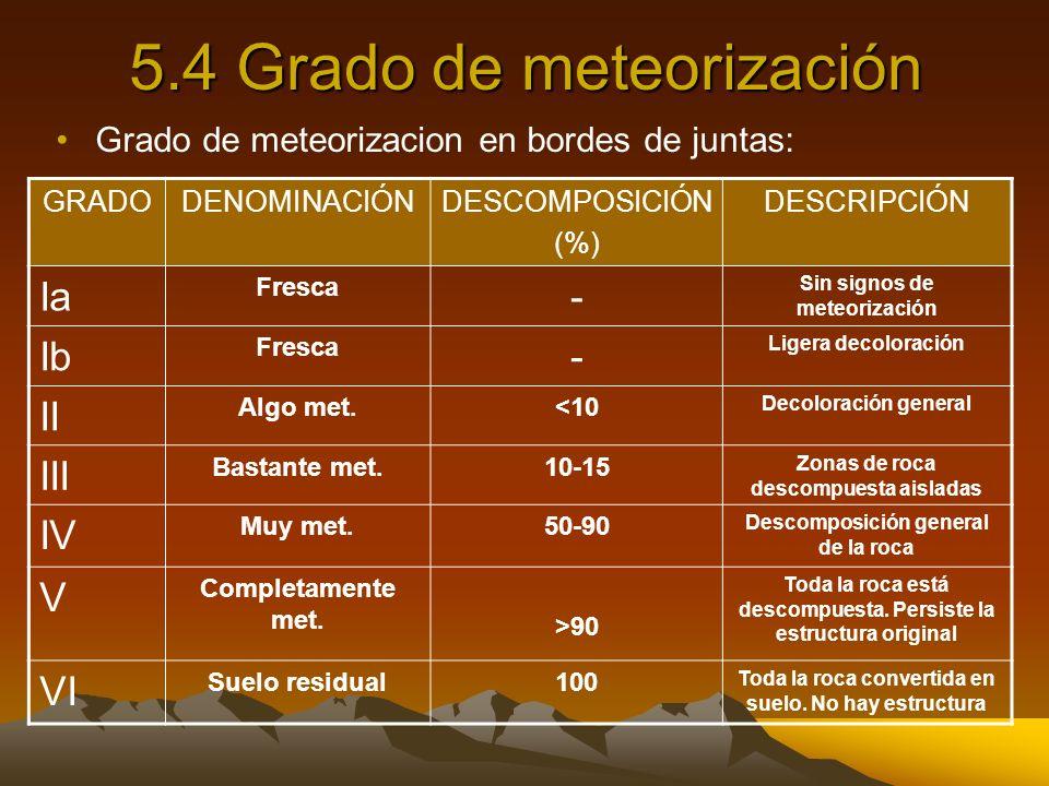 5.4 Grado de meteorización Grado de meteorizacion en bordes de juntas: GRADODENOMINACIÓNDESCOMPOSICIÓN (%) DESCRIPCIÓN Ia Fresca - Sin signos de meteo