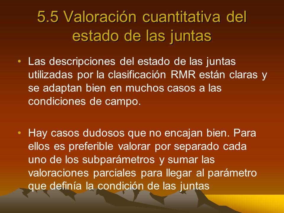 5.5 Valoración cuantitativa del estado de las juntas Las descripciones del estado de las juntas utilizadas por la clasificación RMR están claras y se