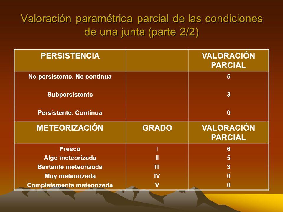 Valoración paramétrica parcial de las condiciones de una junta (parte 2/2) PERSISTENCIAVALORACIÓN PARCIAL No persistente. No continua Subpersistente P