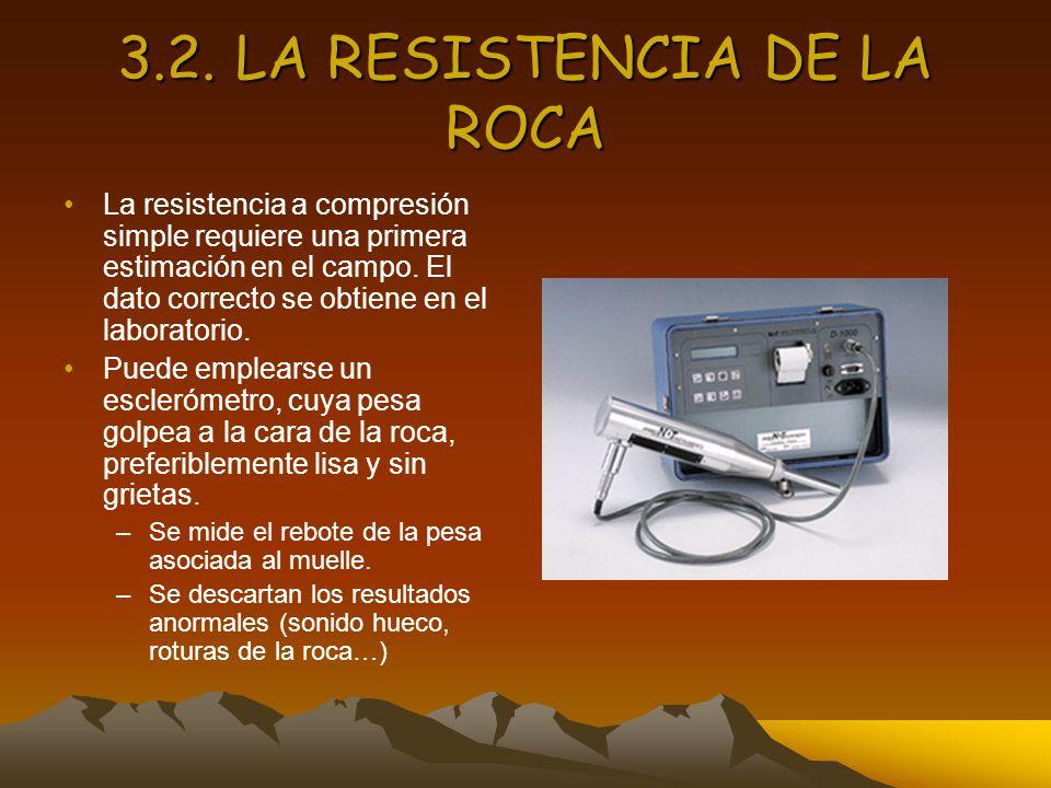3.2. LA RESISTENCIA DE LA ROCA La resistencia a compresión simple requiere una primera estimación en el campo. El dato correcto se obtiene en el labor