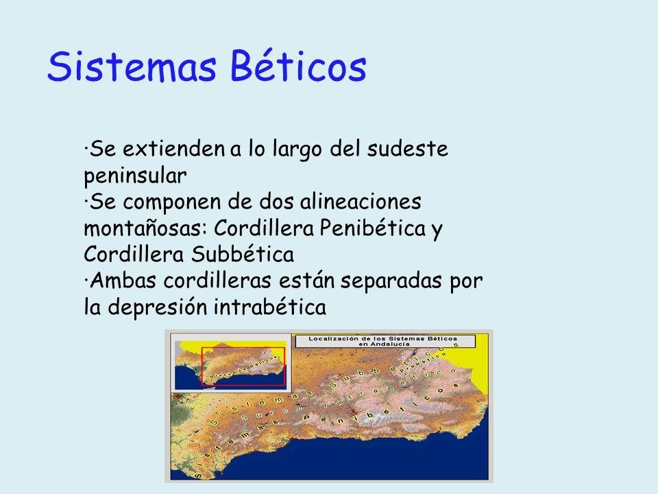 Sistemas Béticos ·Se extienden a lo largo del sudeste peninsular ·Se componen de dos alineaciones montañosas: Cordillera Penibética y Cordillera Subbé