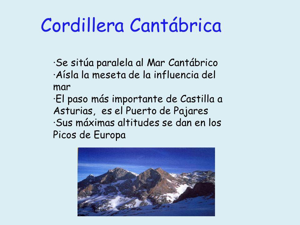 Cordillera Cantábrica ·Se sitúa paralela al Mar Cantábrico ·Aísla la meseta de la influencia del mar ·El paso más importante de Castilla a Asturias, e