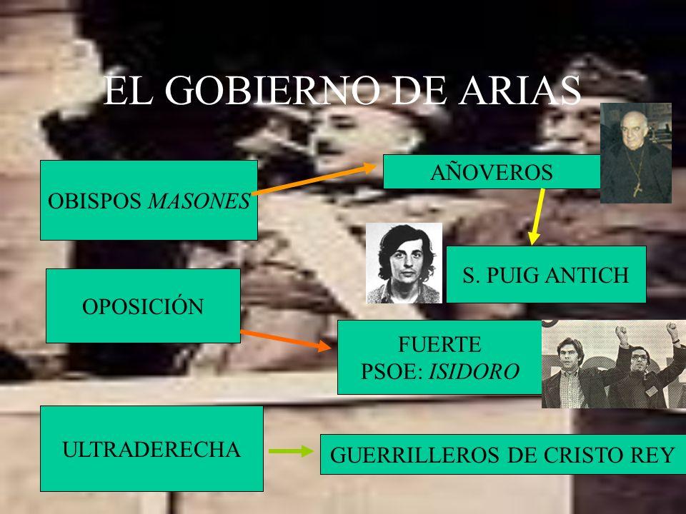 EL GOBIERNO DE ARIAS OBISPOS MASONES AÑOVEROS S. PUIG ANTICH OPOSICIÓN FUERTE PSOE: ISIDORO ULTRADERECHA GUERRILLEROS DE CRISTO REY