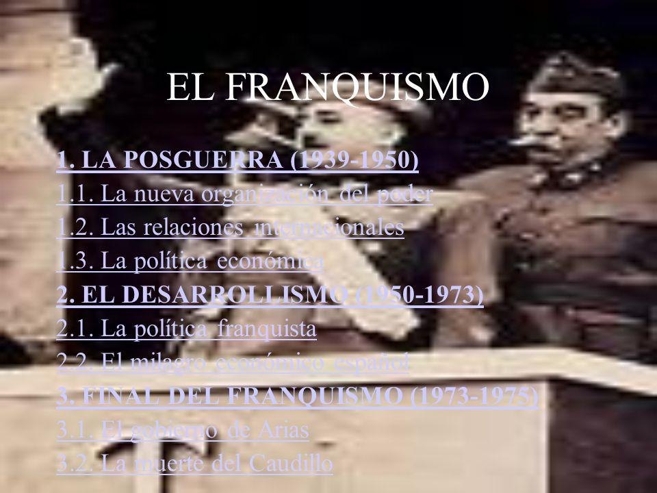 EL FRANQUISMO 1. LA POSGUERRA (1939-1950) 1.1. La nueva organización del poder 1.2. Las relaciones internacionales 1.3. La política económica 2. EL DE