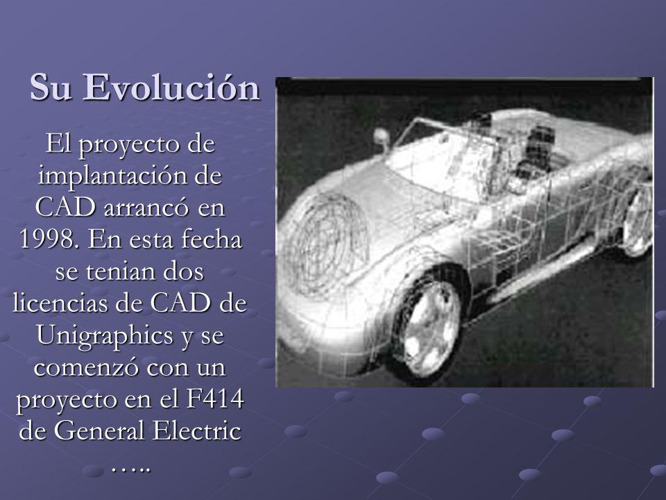 Su Evolución El proyecto de implantación de CAD arrancó en 1998. En esta fecha se tenian dos licencias de CAD de Unigraphics y se comenzó con un proye