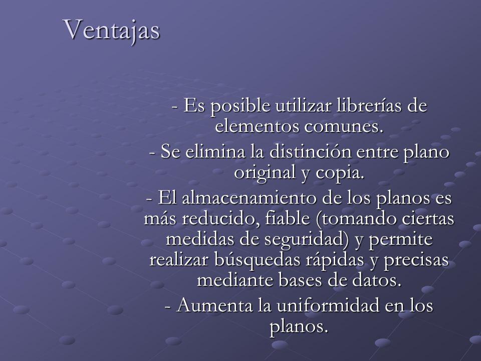 Ventajas - Es posible utilizar librerías de elementos comunes. - Se elimina la distinción entre plano original y copia. - El almacenamiento de los pla