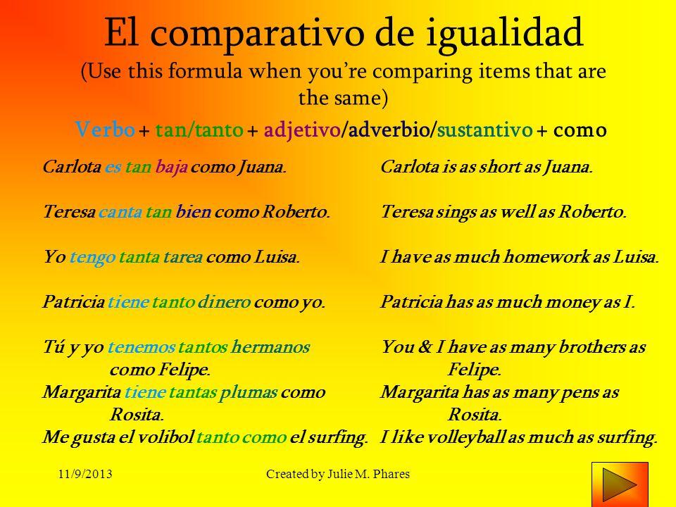 11/9/2013Created by Julie M.Phares Práctica con la comparativo de igualidad 1.
