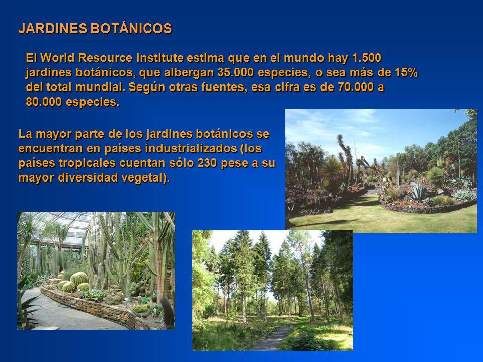 El World Resource Institute estima que en el mundo hay 1.500 jardines botánicos, que albergan 35.000 especies, o sea más de 15% del total mundial. Seg