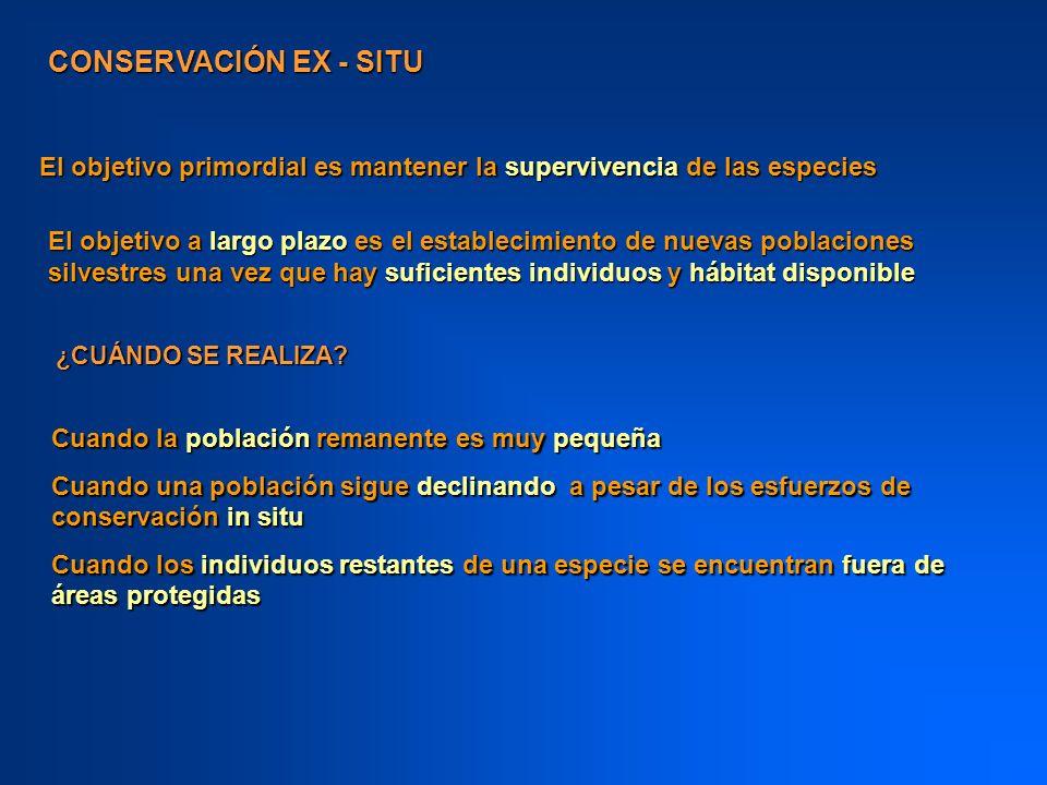 CONSERVACIÓN EX SITU Los centros de conservación ex situ contienen reservorios genéticos de gran importancia, de especies silvestres y/o domesticadas.