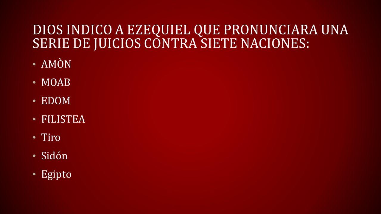 MOTIVO DE JUICIO DIVINO: ``Por cuanto ustedes se burlaron Amón ``Judá es igual que todas las naciones Moab ``Se vengaron con alevosía; con profundo desprecio Filisteos ``Se ha vengado completamente de Judá Edom