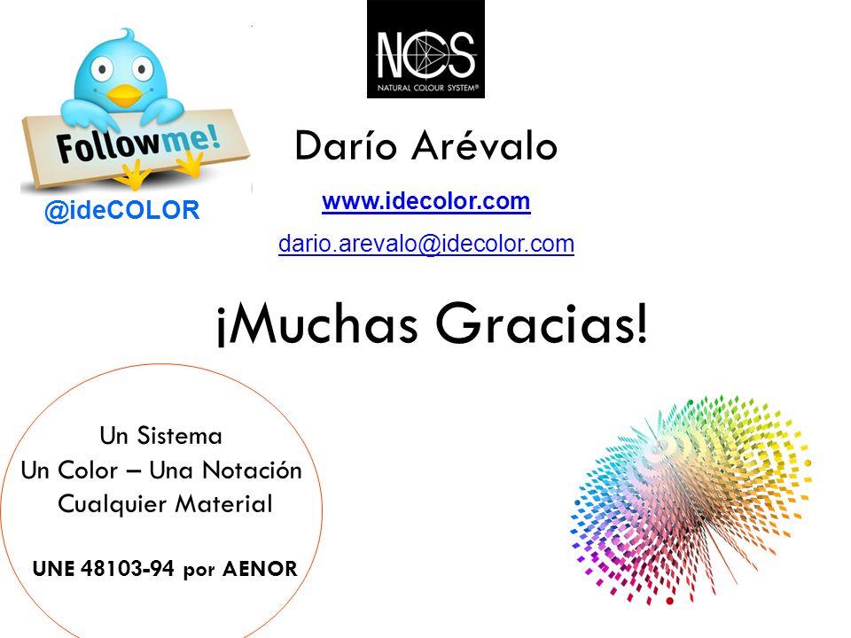 ¡Muchas Gracias! Un Sistema Un Color – Una Notación Cualquier Material UNE 48103-94 por AENOR Darío Arévalo www.idecolor.com dario.arevalo@idecolor.co