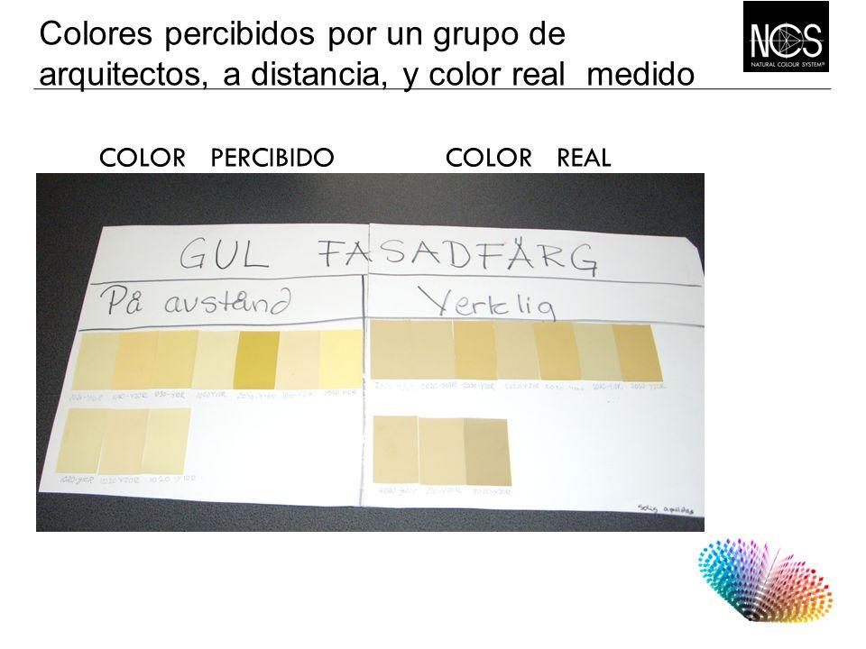 Colores percibidos por un grupo de arquitectos, a distancia, y color real medido COLOR PERCIBIDO COLOR REAL