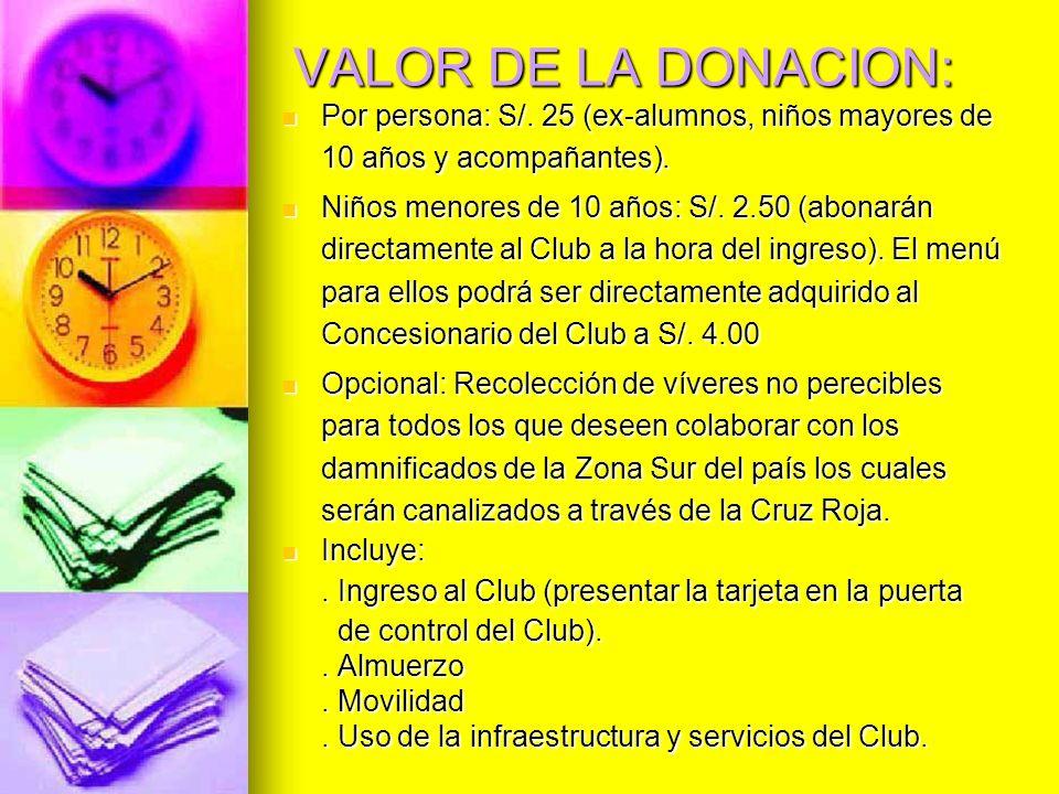 VALOR DE LA DONACION: Por persona: S/. 25 (ex-alumnos, niños mayores de 10 años y acompañantes). Por persona: S/. 25 (ex-alumnos, niños mayores de 10