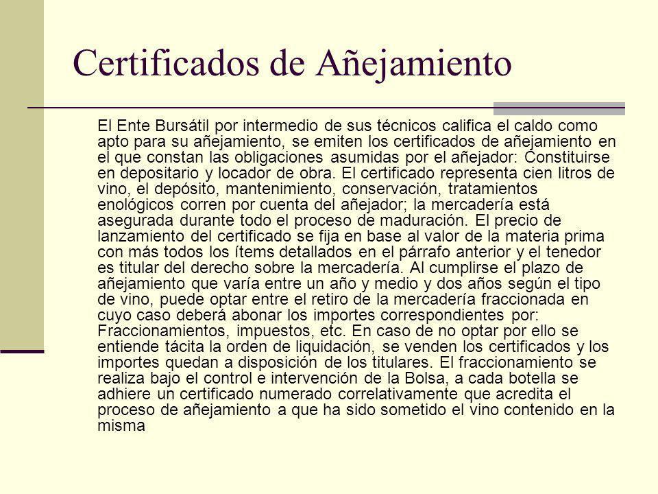 Certificados de Añejamiento El Ente Bursátil por intermedio de sus técnicos califica el caldo como apto para su añejamiento, se emiten los certificado