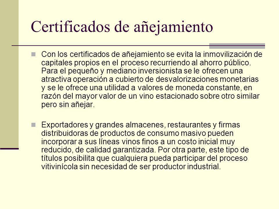 Certificados de añejamiento Con los certificados de añejamiento se evita la inmovilización de capitales propios en el proceso recurriendo al ahorro pú