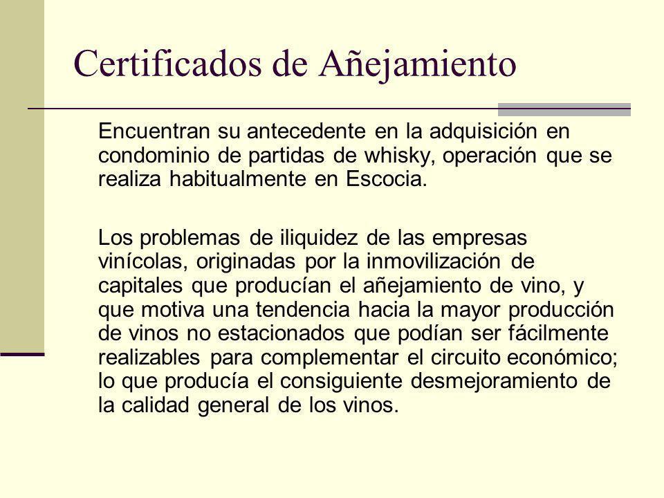 Certificados de Añejamiento Encuentran su antecedente en la adquisición en condominio de partidas de whisky, operación que se realiza habitualmente en