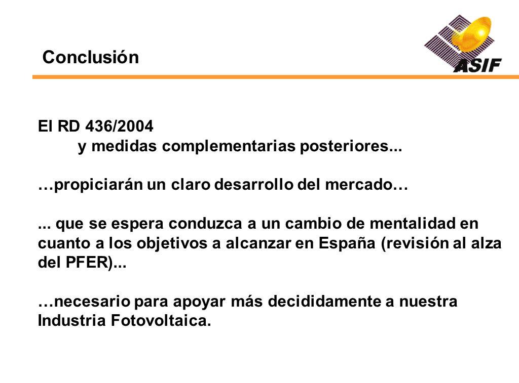Conclusión El RD 436/2004 y medidas complementarias posteriores...