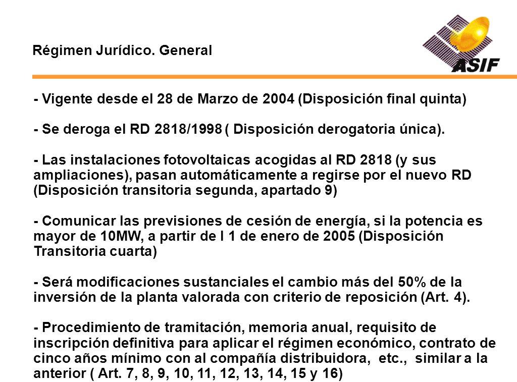 Régimen Jurídico. General - Vigente desde el 28 de Marzo de 2004 (Disposición final quinta) - Se deroga el RD 2818/1998 ( Disposición derogatoria únic