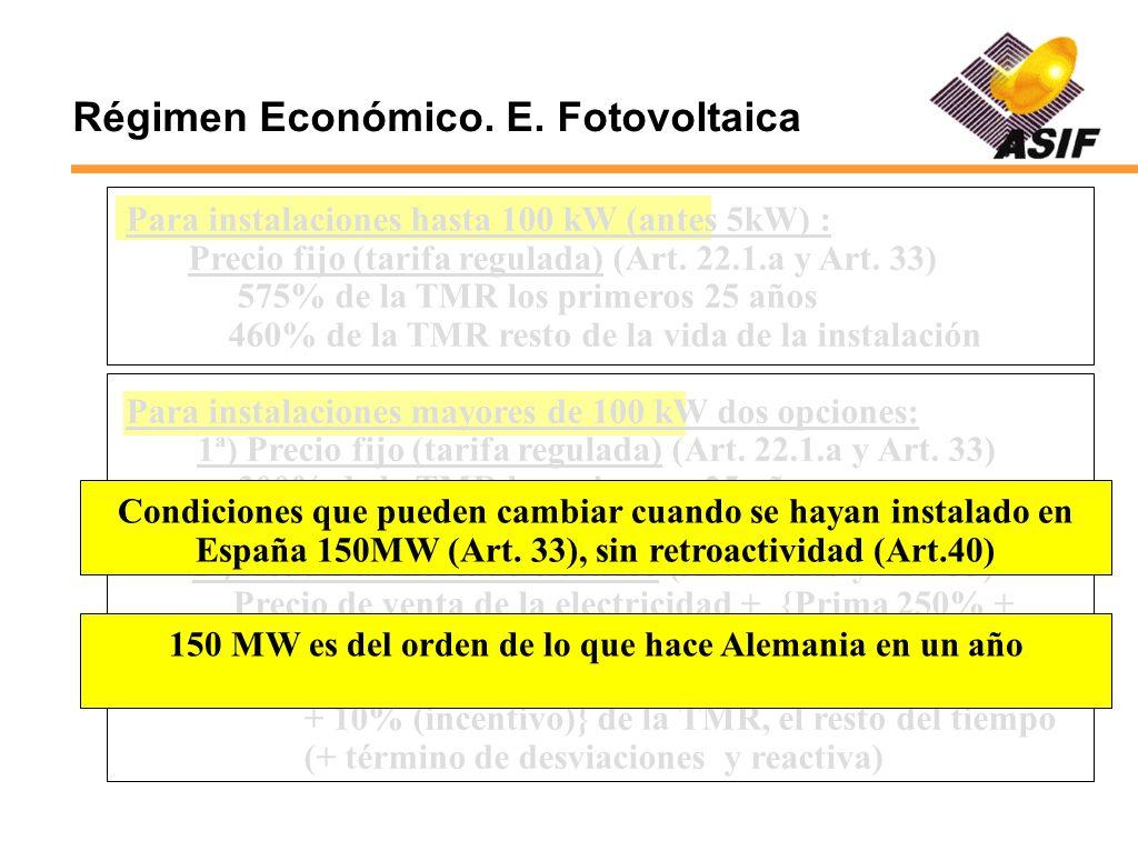 Régimen Económico. E. Fotovoltaica Para instalaciones hasta 100 kW (antes 5kW) : Precio fijo (tarifa regulada) (Art. 22.1.a y Art. 33) 575% de la TMR