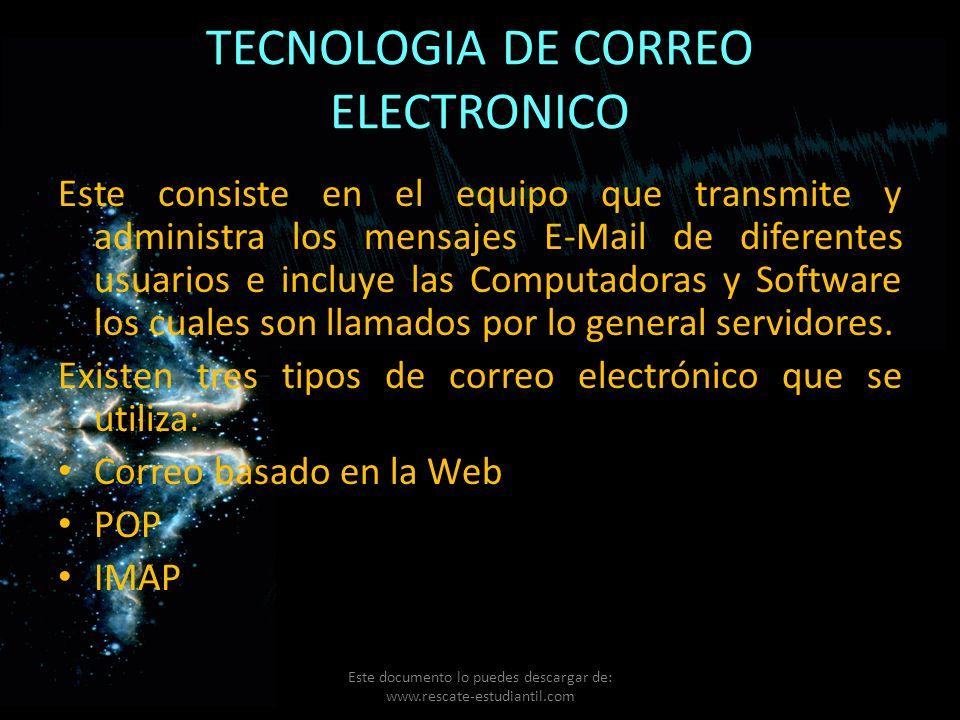 TECNOLOGIA DE CORREO ELECTRONICO Este consiste en el equipo que transmite y administra los mensajes E-Mail de diferentes usuarios e incluye las Comput