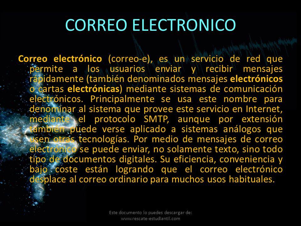 CORREO ELECTRONICO Correo electrónico (correo-e), es un servicio de red que permite a los usuarios enviar y recibir mensajes rápidamente (también deno