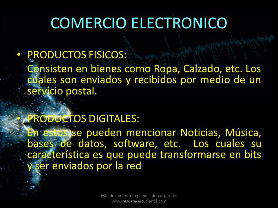 COMERCIO ELECTRONICO PRODUCTOS FISICOS: Consisten en bienes como Ropa, Calzado, etc. Los cuales son enviados y recibidos por medio de un servicio post