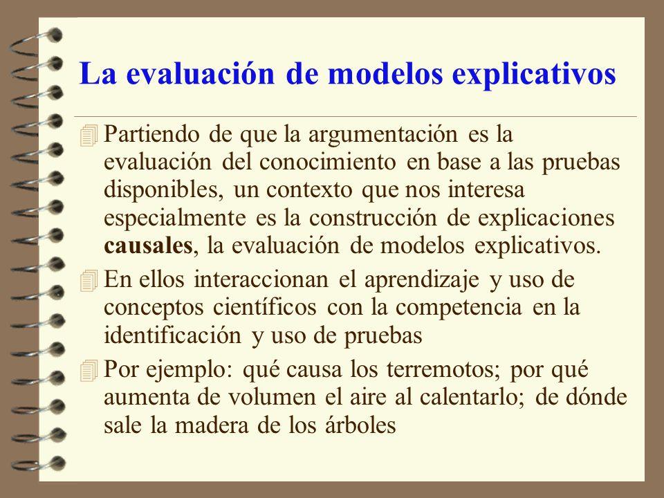La evaluación de modelos explicativos 4 Partiendo de que la argumentación es la evaluación del conocimiento en base a las pruebas disponibles, un cont
