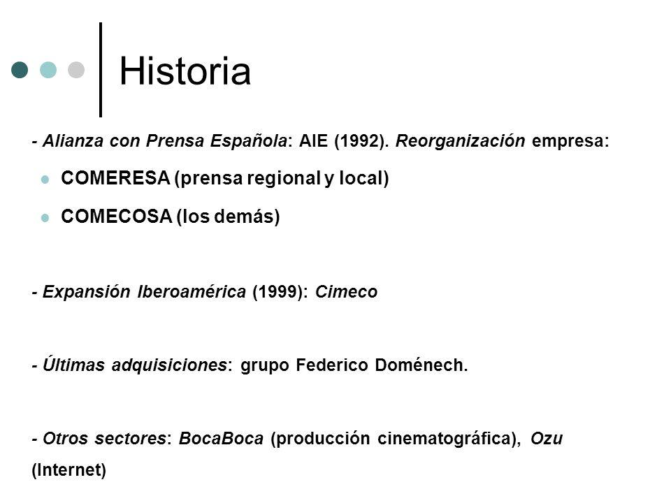 Historia - Alianza con Prensa Española: AIE (1992). Reorganización empresa: COMERESA (prensa regional y local) COMECOSA (los demás) - Expansión Iberoa