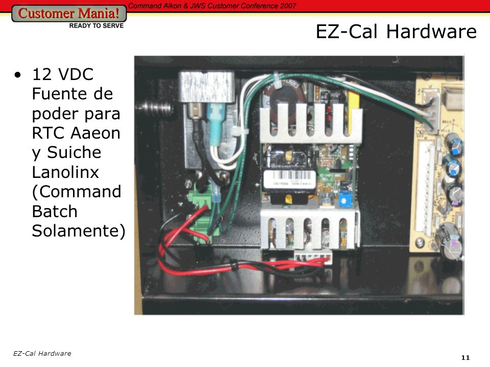 EZ-Cal Hardware 11 EZ-Cal Hardware 12 VDC Fuente de poder para RTC Aaeon y Suiche Lanolinx (Command Batch Solamente)